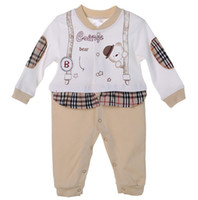 Wholesale 2015 Toddler Baby Boys Girls Rompers Infant Cartoon Printed Plaid Climbing Clothing Baby One piece Plaid Splicing Babies Clothes L2198 K