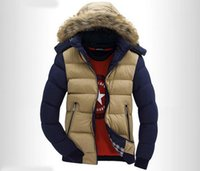Wholesale Fall The North Contrast Color Hooded Design Men Parka Size M XL Casual Men s Winter Jacket Stand Collar Thick Man Down Jacket Face