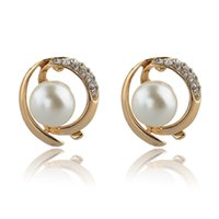 Wholesale 2014 New Fashion Brand Imitated Gemstone Stud Earrings K Gold Silver Plated Crystal Pearl Earring Jewelry For Women SER140090