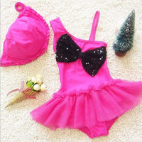and decoration - Baby Clothing New Arrival Summer Style Swimwear Two Pieces Swimsuits Swimrompers And Caps Suits Bowknot Decoration Lovely Sets