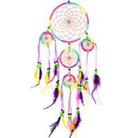 Wholesale Hot Sales Handmade Pendants Dream Catcher Wall Hanging Decoration Ornament Feathers Items Dia CM Length CM JI6