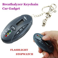 Wholesale Breathalyzer Keychain Car Gadget With Flashlight Stopwatch Alcohol Breath Checker Portable Mini Alcohol Tester New