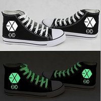 canvas shoes - 2015 new fall shoes for male and female EXO luminous fluorescent painted shoes high top canvas shoes
