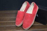 Cheap Women Suede Leather Cap Toe Espadrilles Canvas Flat Fishing Shoes 6 Colors Size 36-41