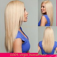 best blond hair - Blond human hair lace wigs straight best brazilian full lace front human hair wigs density for white women