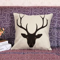 Wholesale Ikea Vintage Cotton Linen Square Cushion Cover Home Decoration cm cm Vintage Mr Deer Animal Geometric Pattern Pillow Cases Q0199