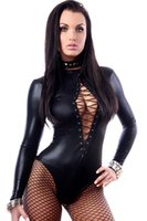Wholesale Women Sexy Black Long Sleeve Leather Lingerie Bodysuits Erotic Leotard Costumes Rubber Flexible Hot Sexy Latex Catsuit Catwomen Costume