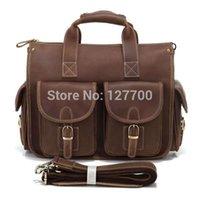 Wholesale 2014 New Direct Selling Zipper Fashionable Cowboy Genuine Crazy Horse Leather Men s Briefcase Laptop Hand Bag Men R