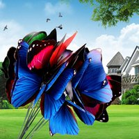 Wholesale 10PcsColorful Butterfly Garden Ornament Flowerpot Decor Butterfly wall Stick NVIE order lt no track