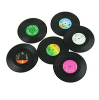 Wholesale 300set CCA2557 set New Arrival Home Table Cup Mat Creative Decor Coffee Drink Placemat Spinning Retro Vinyl CD Record Drinks Coasters