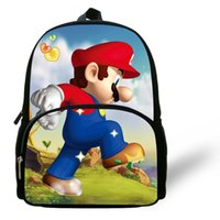 age mario - 12 inch Little Girl Bags Kids Backpack Super Mario Bag Printing Aged Cartoon Children School Bags For Boys
