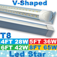 T8 led tube light - V Shaped ft ft ft ft Cooler Door Led Tubes T8 Integrated Led Tubes Double Sides SMD2835 Led Fluorescent Lights AC V UL DLC