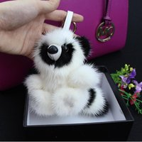bear solar lights - Christmas gift Fur monster pendant of bags Plush toy bear Keychain Plush car jewelry pendant Real Mink fur Fashion keychain