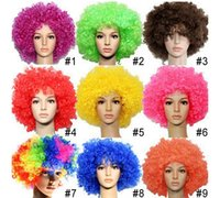 mixed colors afro world hair - World cup Color Party wigs Cheerleaders wig fans Rainbow Afro Clown Costume Football Fan Wig Hair