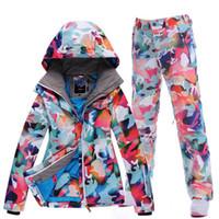 Wholesale snow ski suit Women set single Camouflage thermal ski suit