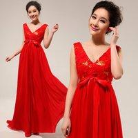 Wholesale Suzhou Wedding Dress V Neck - Deep V red bride wedding toast cheongsam dress wedding dress 1931 wedding gown wholesale Suzhou