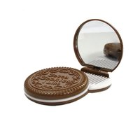 Wholesale Cute Chocolate Cookie Shaped Makeup Mirror with Comb Set Lady Women Makeup Tool Pocket Mirror Home Office Use