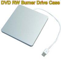 Wholesale 10PCS Super Slim USB DVD Slot in DVD RW Case external dvd drive SATA Silver Caddy Case Enclosure SATA For Macbook