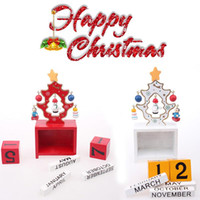 Wooden beautiful desktop - Handmade Wood White Red Christmas Tree Shape Wooden Advent Calendar Beautiful Desktop Little Festive Decoration Children Gift Baby Toys