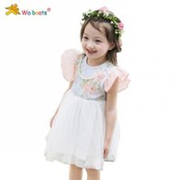 Wholesale 2015 summer girls dress baby girl dresses children lace flower dress dora sleeve korean sweet girl dresses kids clothes WD2996