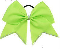 Wholesale 15 off new Inch Colors Solid Grosgrain Cheer Bow Girls Rhinestone Hair Cheer Bows With Elastic Bands