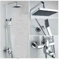 bathtub and shower taps set - And Retail Promotion NEW Wall Mount Chrome Finish quot Square Rain Shower Faucet Set Bathtub Mixer Tap