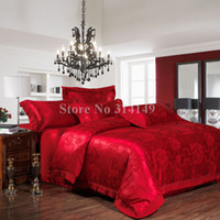 Wholesale Full Queen King luxurious satin cotton red floral europe wedding bedding sets Jacquard comforter duvet covers