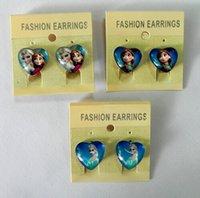 Wholesale FROZEN Elsa Anna Ear Clip Ear Cuff Children Girl glass Heart Shape Earrings Charm jewelry gifts