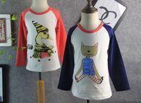 Cheap Free Shipping 2015 New Boys&Girls Cartoon Tee Shirts Cute Cat Goose Printing Kids Spring Long Sleeve T-shirt Casual Tops