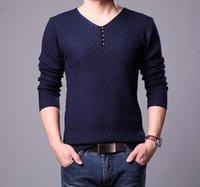 Wholesale Men pullover Men V neck Pullover solid color knitting Male multicolors Mens base shirt NBN32