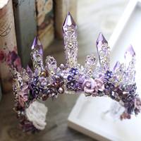anchor flowers - European Bride Tiaras Baroque Luxury Big Crowns Rhinestone Queen Diamond Hair Accessories Purple Crystal Ceramic Flower earrings suit