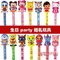 Wholesale 2015 New Large scale cm Cartoon Aluminum Foil Balloon Stick Animal Head Balloons Refueling Inflatable Rods Cheer Item Party Decoration