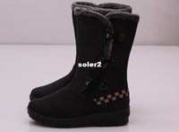 Wholesale New fashion horn button winter boots snow boots suede boots for women lady platform boot winter shoes Cotton shoes