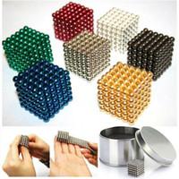 al por mayor separador de metal de 5 mm-216pcs 3 mm Cubos mágicos bolas del imán de NdFeB 5MM buckyballs Cubo Puzzle magnético granos del espaciador de la educación DIY juguetes con la caja +
