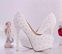 Wholesale Fashion Luxurious Pearls Crystals Wedding Shoes cm High Heel Bridal Shoes Party Prom Women Shoes Shoes Wedding For Bridal