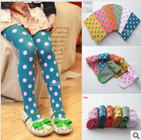 baby silk pant - candy colored pantyhose children socks and velvet Polka Dot silk pants slim cartoon rendering