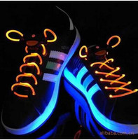 color shoe laces - LED Lighter Shoelace Color cm Fashion LED Flashing shoe laces Fiber Optic Shoelace Luminous Shoe Laces Light Up Shoes lace L1DBCD