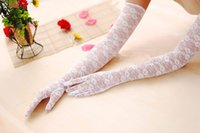 Wholesale 2015 Lace Full Fingers Wedding Gloves in Fomal Ladies Lingerie Evening Costume Gloves Opera Arm Long Gloves fingered white