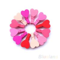 Wholesale 12Pc BAG Mini Heart Love Wooden Clothes Photo Paper Peg Pin Clothespin Craft Clips DHR