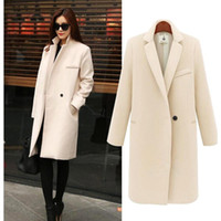 women winter coats - 2015 Autumn Winter Fashion Overcoat Pink Black Beige Single Button Turn Down Collar Casual Worsted Outerwear Coat for Women OXL082704