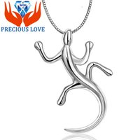 amethyst meaning - 925 Sterling Silver small gecko Pendant D stereo personality sweater chain jewelry short chain clavicle gecko meaning D