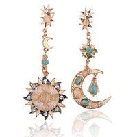 Wholesale Style Gold Star Sun Moon Crystal Rhinestone Stud Dangle Pretty Funky Earrings