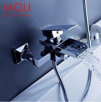 Wholesale wall mounted bath shower faucet bath tub taps square waterfall bath mixer