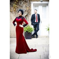 apple black hat - Red Abaya Islamic Evening Dresses Muslim Abaya Dubai Kaftan Arabic Formal Prom Dress Long Sleeves Sadek Majed Couture without Hat