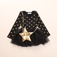 baby star designer clothing - 20pcs Hot sale baby girls dresses autumn cotton clothes girl dress kids fashion cute designer brand girls wear printing stars tulle