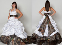 wedding gown detachable train - Camouflage Wedding Dresses Custom Made Modest Unique Plus Size Detachable A Line Court Train Halter With Draped Bow Outdoor Bridal Gown