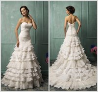 Cheap Amelia Sposa Inspired 2014 Strapless Wedding Dress in Ruffled Appliqued Lace and Organza A Line Backless Bridal Gown with Lace Up