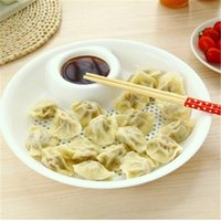 Wholesale Singles vinegar dumplings white dinner plate pp plastic tape double Drain fruit bowl Kitchen Cooking Tools