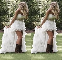 Wholesale Courty Style White Wedding Dresses New Arrival Exquisite Beading With Sweetheart Back Long Front Short Bridal Gowns Vintage Custom Made