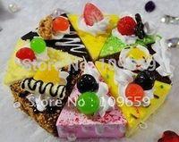 Wholesale-10pcs / lot, envío libre, blando bollos torta del triángulo de los encantos, correas del teléfono celular de Squishies, CY-01-066 al por mayor de